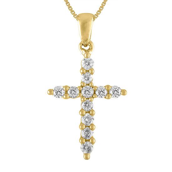 Womens 1/4 CT. T.W. Genuine White Diamond 14K Gold Cross Pendant Necklace