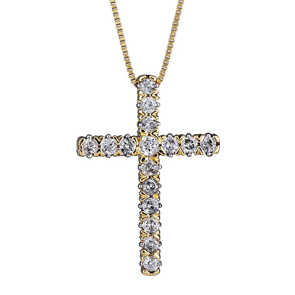 Fine Jewelry Womens 1/4 CT. T.W. White Diamond 10K Gold Pendant Necklace eoRywg3N