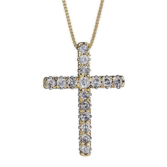 Womens 1/4 CT. T.W. Genuine White Diamond 10K Gold Pendant Necklace