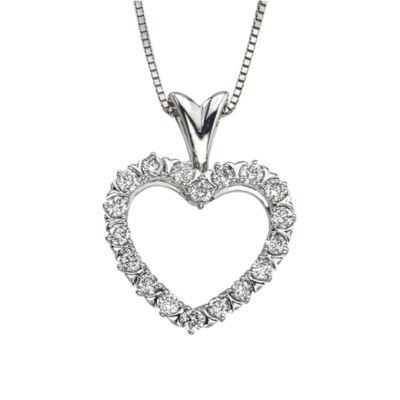 Womens 1/2 CT. T.W. Genuine White Diamond Pendant Necklace