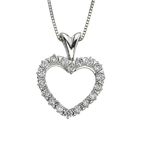 Womens 1/2 CT. T.W. Genuine White Diamond 10K Gold Pendant Necklace