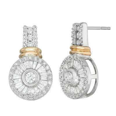 1 CT. T.W. Genuine White Diamond 10K Gold Drop Earrings