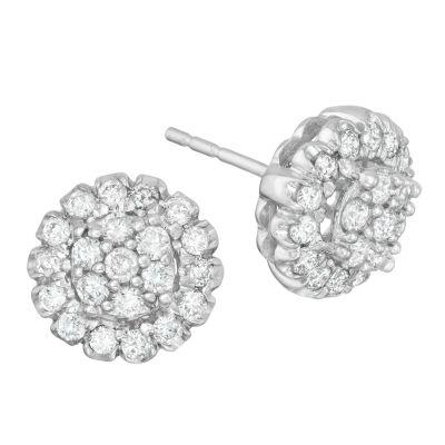 Diamond Blossom 3/4 CT. T.W. Genuine White Diamond 14K Gold Stud Earrings