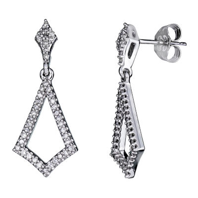 1/4 CT. T.W. White Diamond 10K Gold Drop Earrings