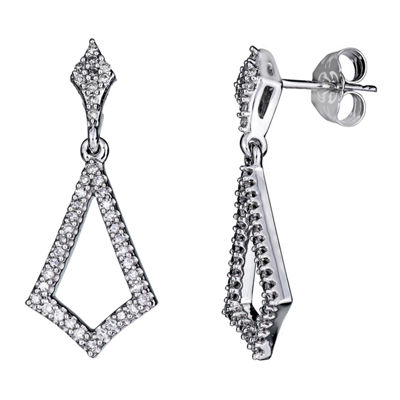 1/4 CT. T.W. Genuine White Diamond 10K Gold Drop Earrings