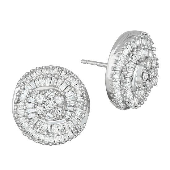 1 CT. T.W. Genuine White Diamond 10K Gold Stud Earrings