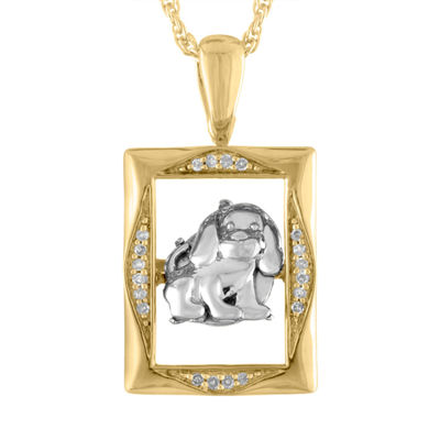 Love in Motion Diamond Accent 18K Yellow Gold Over Silver Dog Pendant Necklace