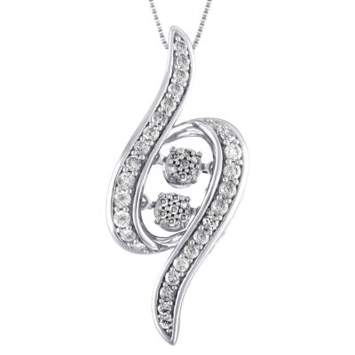 Love in Motion Womens 1/2 CT. T.W. Genuine White Diamond 10K Gold Diamond Pendant Necklace