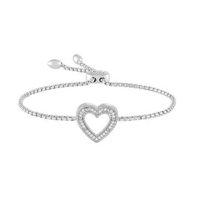Rhythm & Muse Womens Diamond Accent White Diamond Sterling Silver Bolo Bracelet