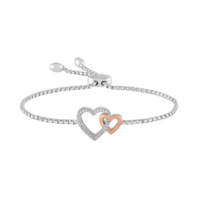 Rhythm & Muse Womens Diamond Accent Sterling Silver & 14K Rose Gold Over Silver Bolo Bracelet
