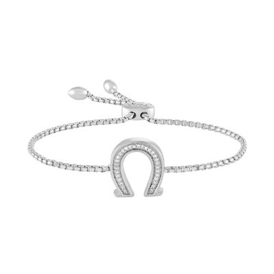 Rhythm & Muse Womens Diamond Accent Sterling Silver Bolo Bracelet