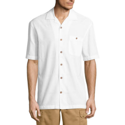 Island Shores Short Sleeve Plaid Button-Front Shirt