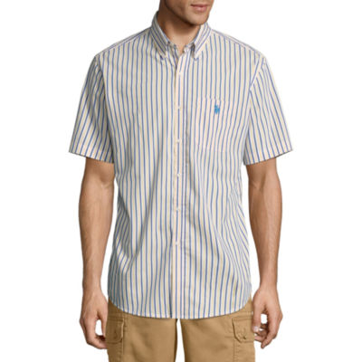 U.S. Polo Assn. Short Sleeve Stretch Poplin Button-Front Shirt