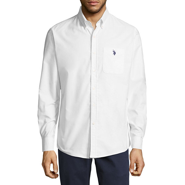 U.S. Polo Assn. Stretch Oxford Sportshirt Long Sleeve Button-Front Shirt