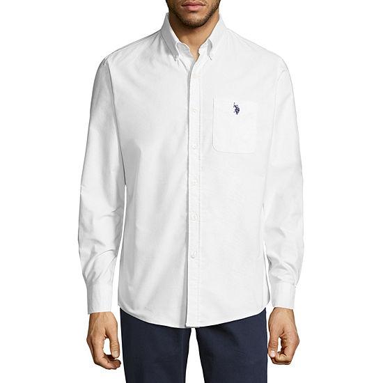 U.S. Polo Assn. Stretch Oxford Sportshirt Mens Long Sleeve Button-Front Shirt