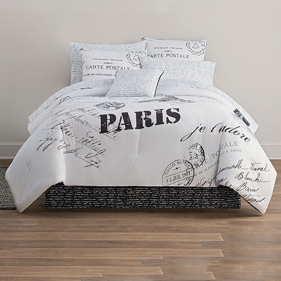 home expressions paris complete bedding set with sheets - Paris Bedding