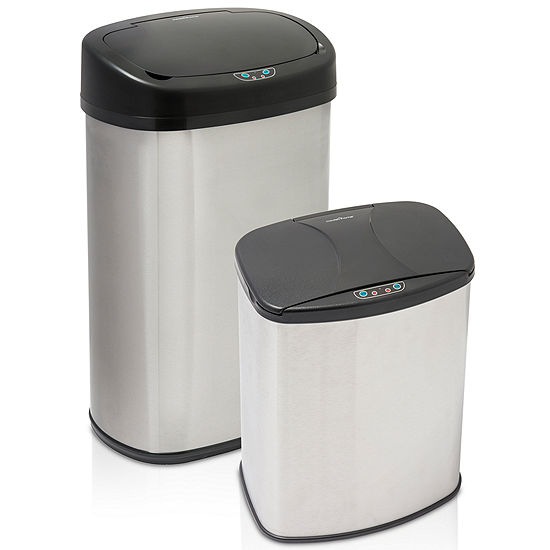 ModernHome 13 Gallon and  4 Gallon Oval Brushed Stainless Steel Motion Activated Touch-Free Sensor Trash Can Set