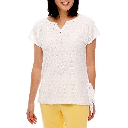 Alfred Dunner Seas The Day Short Sleeve Split Crew Neck T-Shirt-Womens