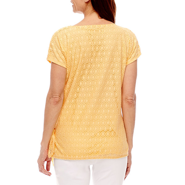 Alfred Dunner Seas The Day Short Sleeve Split Crew Neck T-Shirt-Womens