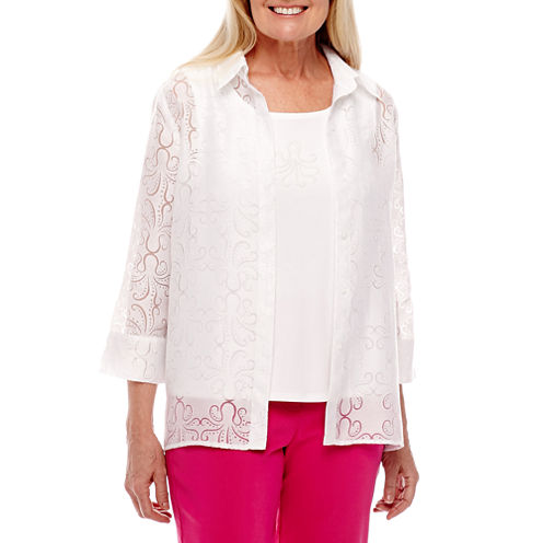 Alfred Dunner 3/4 Sleeve Layered Top