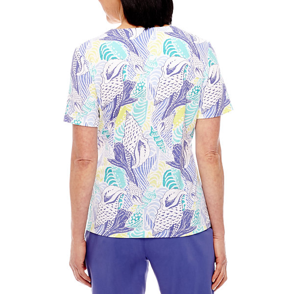 Alfred Dunner Reel It In Short Sleeve Shell Print T-Shirt
