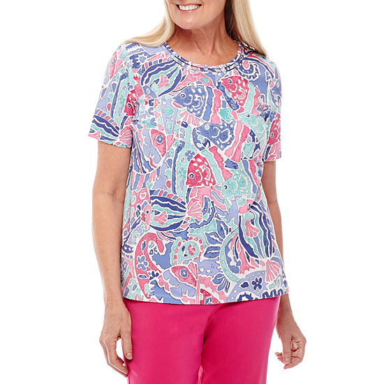 Alfred Dunner Reel It In Short Sleeve Fish Print T Shirt