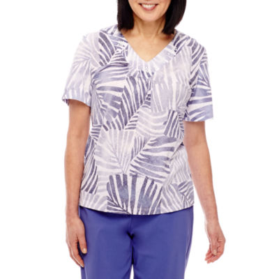 Alfred Dunner Reel It In Short Sleeve Burnout Stripe T-Shirt