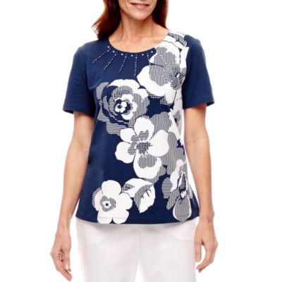 Alfred Dunner Garden Party Short Sleeve Crew Neck T-Shirt