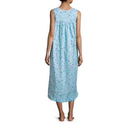 Adonna Woven Sleeveless Square Neck Printed Nightgown
