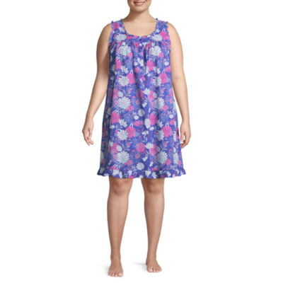 Adonna Woven Sleeveless Scoop Neck Floral Nightgown-Plus