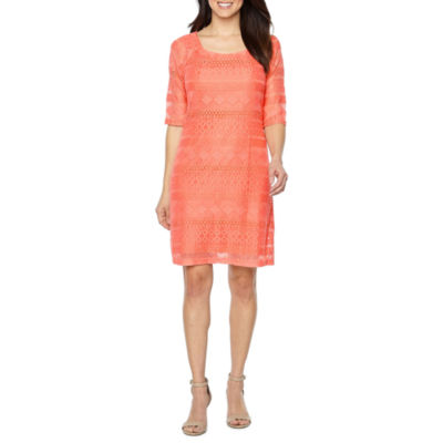 Rabbit Rabbit Rabbit Design 3/4 Sleeve Lace Sheath Dress