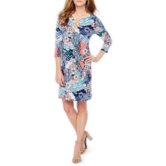 MSK 3/4 Sleeve Pattern Shift Dress