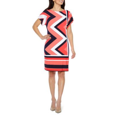 Studio 1 Short Sleeve Stripe Shift Dress