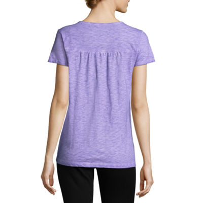 St. John's Bay Short Sleeve Split Crew Neck T-Shirt-Womens Petite