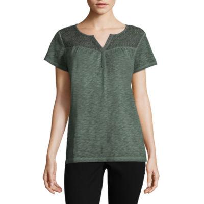 St. John's Bay Short Sleeve Split Crew Neck T-Shirt-Womens Petite