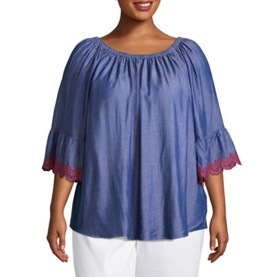 Lark Lane Cote D'Azur Silky Chambray Peasant Top- Plus