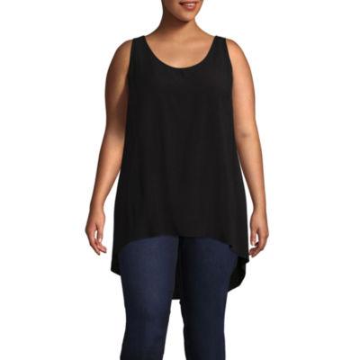 Boutique + Sleeveless Woven Blouse - Plus