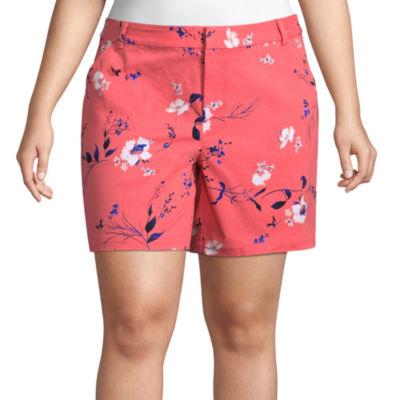 """Boutique + 7"""" Floral Twill Shorts - Plus"""