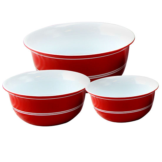 "Just Dine Bistro Edge 3 pc Nesting Bowl Set - 9.5"" 8""  7.25"""