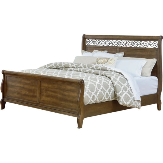 Flemington Scrolled Fret Sleigh Bed