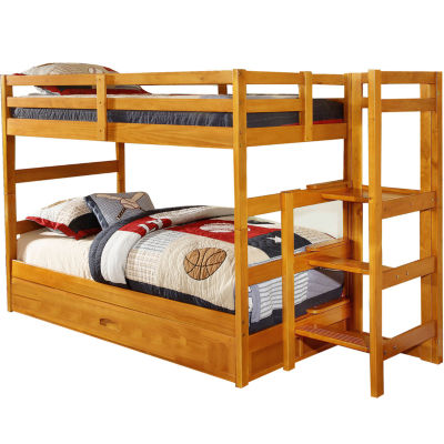Franklin Twin-Over-Twin Easy Step Bunk Bed with Slide-Out Trundle