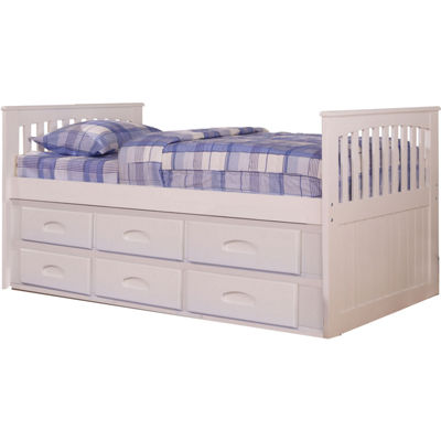 Hillcrest Twin-Size Bed Frame with Build-in Storage and Slide-Out Trundle