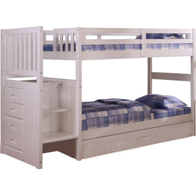 Springside Twin-Over-Twin Staircase Bunk Bed withSlide-Out Trundle