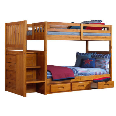 Twin-Over-Twin Staircase Bunk Bed with Storage Drawers