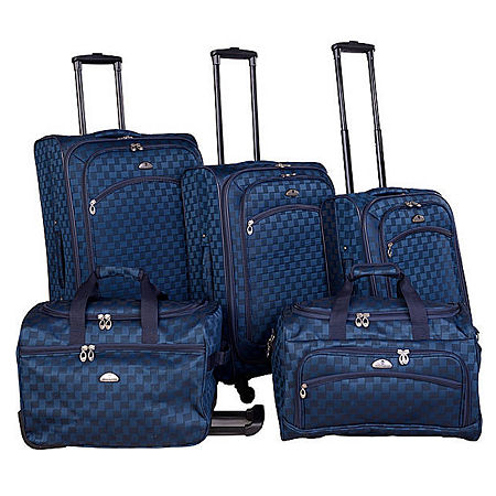 American Flyer Madrid 5-pc. Spinner Upright Luggage Set, One Size , Blue