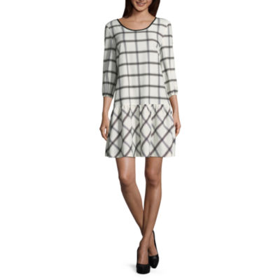 Weslee Rose Elbow Sleeve Drop Waist Printed Dress