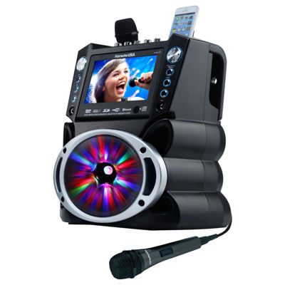 "Karaoke USA GF842 DVD/CD+G/MP3+G Karaoke System with 7"" TFT Color Screen, Record, Bluetooth and LED Sync Lights"