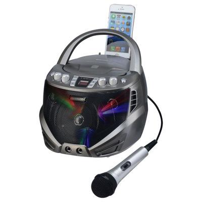 Karaoke USA GQ263 Portable CD+G Karaoke Player with Flashing LED Lights