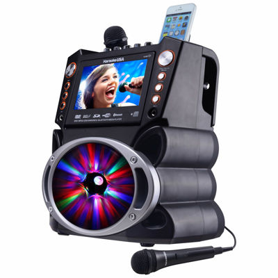 "DVD/CDG/MP3G Karaoke Machine with 7"" TFT Color Screen, Record, Bluetooth and LED Sync Lights"