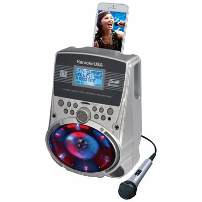 "Portable Karaoke MP3 Lyric Player with 3.2"" Lyric Screen, SD Slot and LED Sync Lights"
